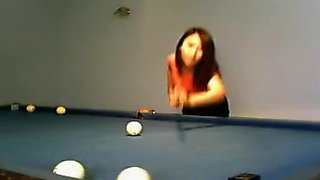 Gorgeous Asian Brunette Plays Pool And Dances For The Camer