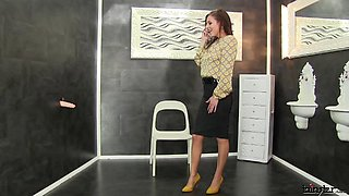 Gorgeous milf sucks then rides a gloryhole cock in a messy solo shoot