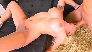 Busty blonde works the dick in complete hardcore