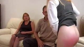 Emily spanked otk&caned on her barebottom for being inappropriate with boys