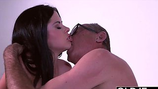 Hot Innocent Teen Gives Grandpa Rimjob Rides His Cock