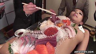 Sushi time with naked Ramu Nagatsuki includes some pussy masturbation