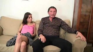 Naughty girl is involved into family 3some