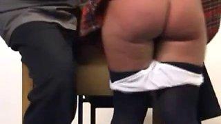 Punished brunette schoolgirl