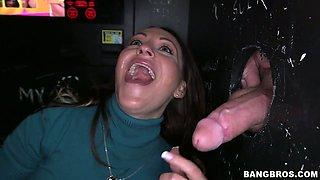 Big lipped brunette Vanessa Luna sucks and gets fucked via gloryhole
