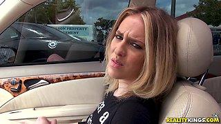 Cute Bonnie Grey likes it when a friend fucks her in the car