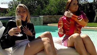 Back yard lesbian sex by the pool with Kittina and Viktoria Diamond
