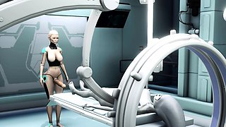 Alien lesbian sex in sci-fi lab Android plays with alien