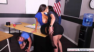 Bombastic MILFs Ava Addams and Rachel Starr share a young cock