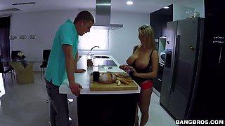 Bosomy damsel Katerina plays with a banana before hot kitchen sex