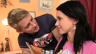 Brunette girl cheating with his brother