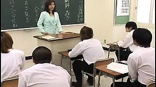 Lustful Asian teacher in stockings gets pounded hard in the