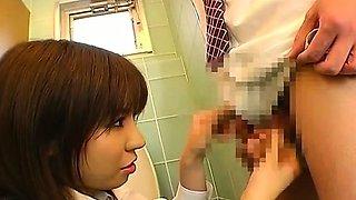 Subtitled CFNM Japanese femdom office bathroom teasing