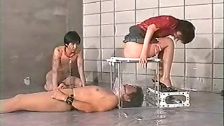 Extreme female domination from asian girls sadistic. use the guy&#39s face as your toilet for waste
