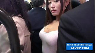 Very hot asian babe fucked on the public bus