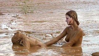 Sexy lesbians in muddy bondage