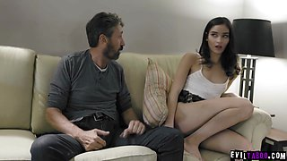 Dad punishes and spanks his slutty 18yo daughter