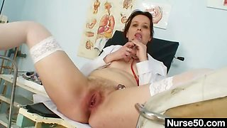 Unpretty mature nurse masturbates with gyno tool