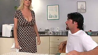Blonde MILF slut Penny Porsche with huge jugs seduces the guy