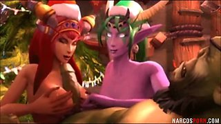 Sexy ass Warcraft heroes fucked in threesome sex