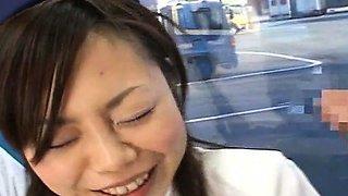 Subtitled CFNM amateur Japanese bus tour guide blowjob