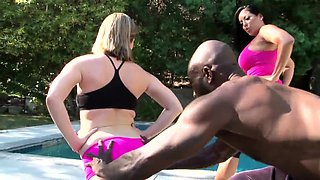 Lustful housewives satisfying their hunger for black meat