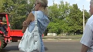 Public jeans upskirt of a blond