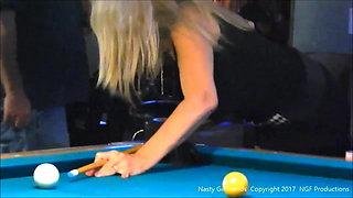 Slut Sofia working the pool hall