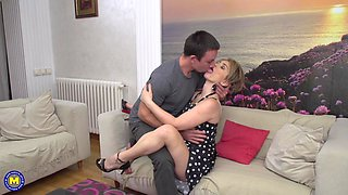 Mature short haired blonde babe Alana R. gets seduced by hard cock