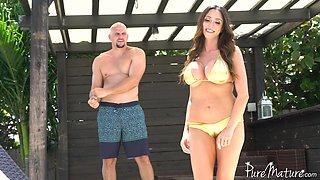 Amazing brunette girl Ariella Ferrera likes to bounce on his dick