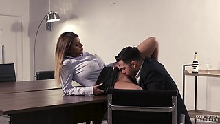 Fucking on the office table with busty secretary Brooklyn Chase