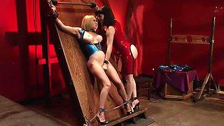 Horny pornstar Krissy Lynn in fabulous blonde, latex adult movie