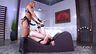 hot blonde loves to dominate her slave