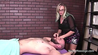 Blonde Masseuse With Glasses