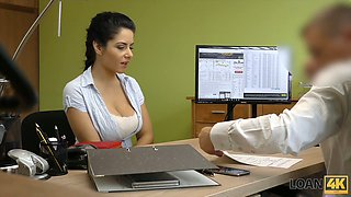 Mesmerizing giant breasted babe Alex gets analfucked by loan debtor