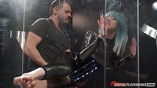 Stunning bitch in sexy crotchless costume Aria Alexander is fucked by horny guy