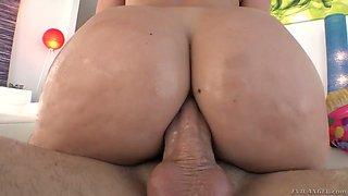 Attractive bootyful blonde babe AJ Applegate greedily takes cock in her anus