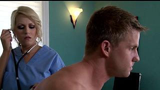 Busty doctor gets injection