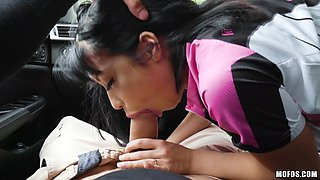 Small tits Rina shaved pussy pleasured hardcore in car