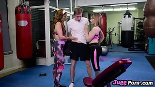 Wild threesome in gym with two horny mommys