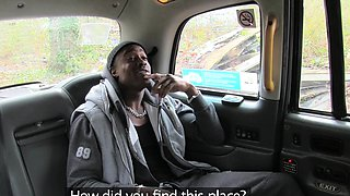 Cab driver in fishnets rides big black dick