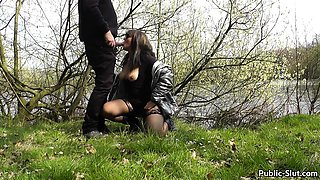 More public flashing and public sex with hot wife Marion