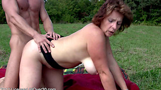 Busty Hairy Milf Misti Outdoor Fun