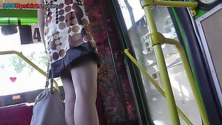 Amazing MILF presents upskirt view with her tasty ass
