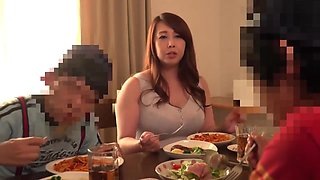 Hot japanese step mom playing with two young son in bath