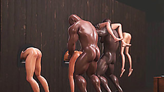 Two black men and dwarf fuck young slaves in the dark basement