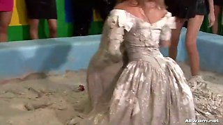 bride to be all covered in mud