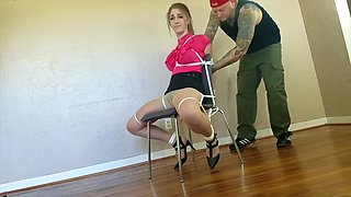 teen blonde chairtied and gagged
