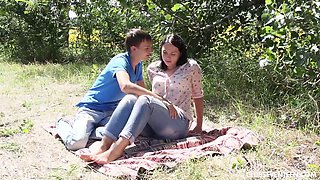Erotic outdoors fucking with shaved pussy girlfriend Viki A