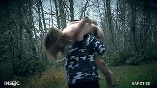 Kinky dude fucks pretty hot tied up girlfriend Ashley Lane in the forest